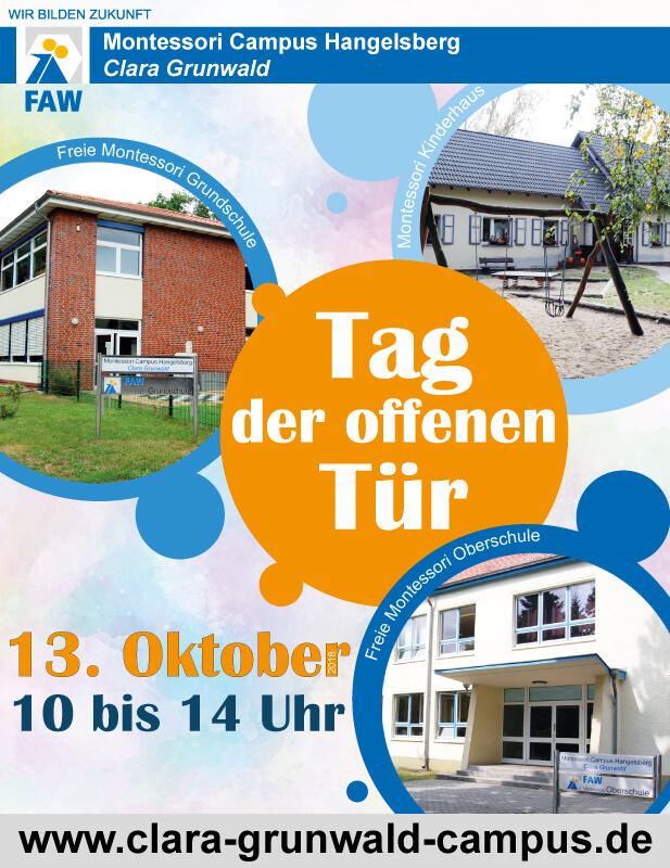 Montessori Campus Hangelsberg Clara Grunwald_Tag der offenen Tür am 13. Oktober 2018_Plakat
